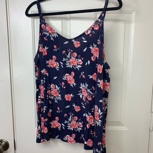 BLUE FLORAL STRAPPY TANK TOP SIZE 2X